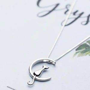 Jewelry - NEW 925 Sterling Silver Cat Moon Necklace